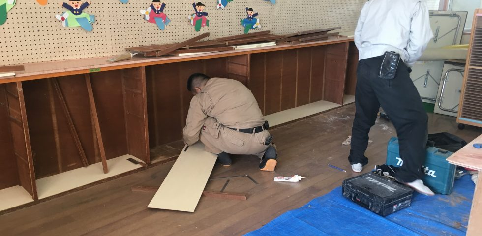 幼稚園の棚修繕工事